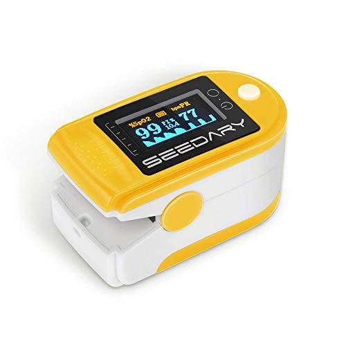 SEEDARY Oxímetro de Pulso y Monitor de Frecuencia Cardíaca con Pantalla OLED HD Pulsioxímetro con Alarma y 4 Direcciones Certificado por CE y FDA para Adultos y Niños