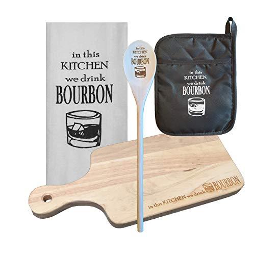 In This Kitchen We Drink Bourbon 4-Piece Bundle - Wooden Cheese Board, Tea Towel, Gray Pot Holder, Wooden ()