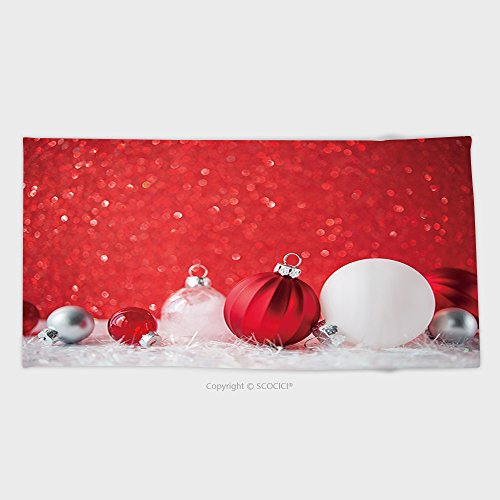 55.1W x 27.5L Inches Cotton Microfiber Bathroom Towels Ultra Soft Hotel SPA Beach Pool Bath Towel Red And White Xmas Ornaments On Red Glitter Bokeh Background Merry Christmas Card Winter Holiday 48236 (Ridge Ornaments Christmas Garden)