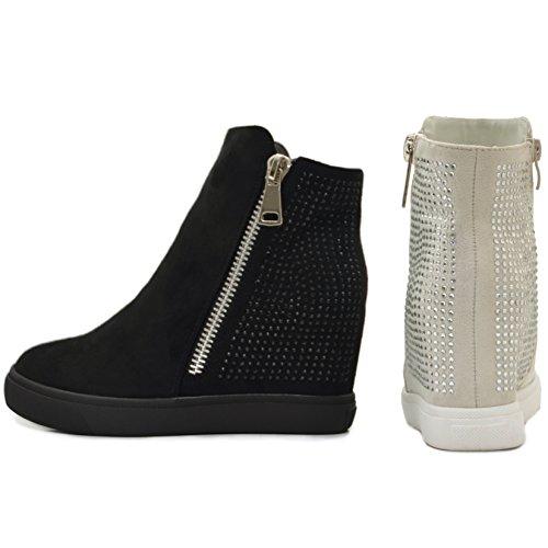 SAlin Sneaker-Wedges in Schwarz oder Beige Schwarz