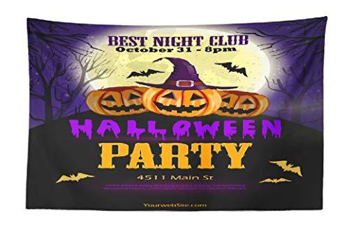 Halloween Party Flyer Blank (FINOY Halloween Pumpkin Tapestry Wall Hanging,Halloween Party Flyer with Pumpkins Tapestry Wall Art,Throw Tapestry for Bedroom 30L x 45W Halloween)