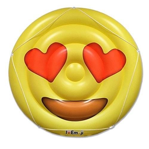 Emoji Swimming Pool Float | Heart Eyes Emoticon | Huge 60 Inch Raft | Cool For Pool - Glasses I Can Nerd Buy Where