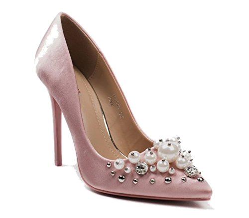 Dressy Shoes Pink Court CRAZY On Satin Diamante Pumps Pearl High Womens Stiletto SHU Smart Heel Party Ladies Slip F34 aqx47Adfw