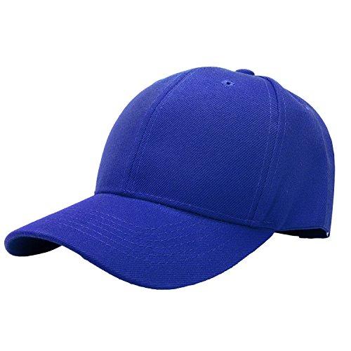 Falari Baseball Cap Adjustable Size Solid Color (Blue Baseball Hat Cap)