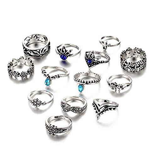 Multi Finger Ring - Hanloud Vintage Silver Crystal Joint Knuckle Nail Ring Set Multi Flower Unicorn Punk Stacking Ring Set