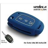 KEYZONE Silicone Key Cover for Elite i20/Active/Creta Flip Key Remote (Blue)