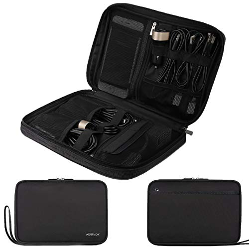 - ARVOK Electronic Organizer Travel Universal Cable Organizer Electronics Accessories Cases Gadgets Bag Cord Storage Bag for Cable, Charger, Phone, USB, SD Card