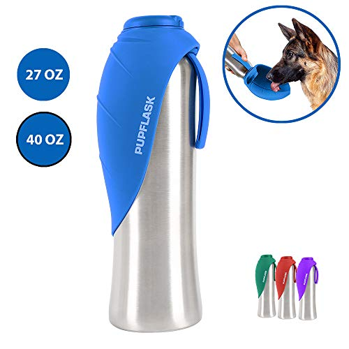 PupFlask Portable Water Bottle | 27 or 40 OZ Stainless Steel | Convenient Dog Travel Water Bottle Keeps Pup Hydrated | Portable Dog Water Bowl & Travel Water Bottle For Dogs (40 Ounce, Nebulas Blue)