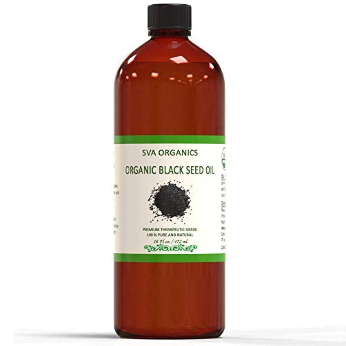 Black Seed Carrier Essential Oil - 100% Pure Organic Certified ,Cold Pressed ,Unrefined ,Therapeutic Grade by SVA Organics - 16 Oz | For Skin ,Hair ,Immune Support | Nigella Sativa Black Cumin