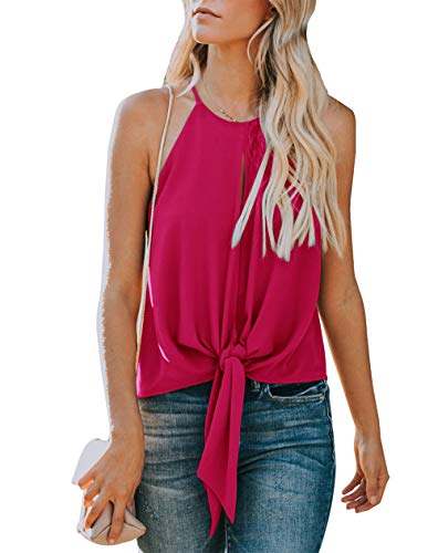 Topstype Women's Summer Sleeveless Crew Neck Tank Tops Camis Front Tie Knot Casual Shirt Keyhole Front Blouse Wine Red