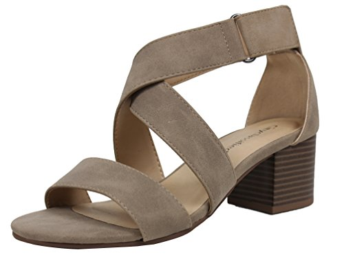 City Classified Womens Open Toe Wide Strap Strappy Mid Stacked Block Heel Taupe D182gxYP4d