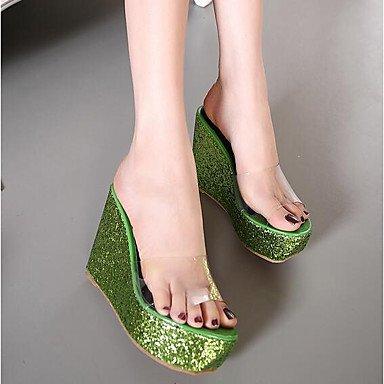 cuña otro piel de Plata exterior verano Rosa Las Blanca Verde Oro sintética de talón Pink LFNLYX mujeres sandalias de SqXR8nPFwx