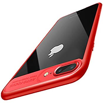 iPhone 8 Plus Case, iPhone 7 Plus Case, Baseus Tough PC and Flexible TPU Ultra Slim Clear Case Premium Hybrid Protective Cover for Apple iPhone 8 / 7 Plus (Red)