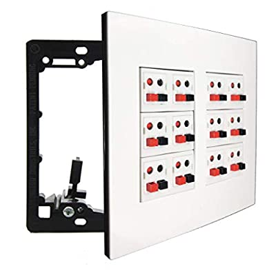 diyTech Premium Speaker Wall Plate, Supports 5.1, 7.1, 7.2 or 12 Speaker Configurations, 2 Gang Screwless - White