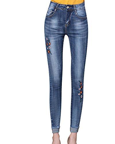 Bleu Pantalon Skinny Vintage Fleur Femme en Jean Brod Jeans 48wna