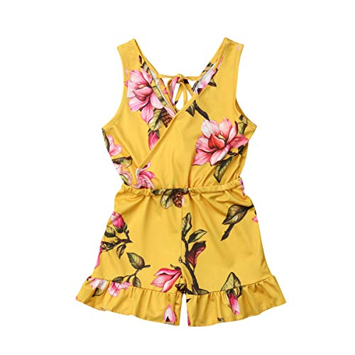 Toddler Kids Baby Girl Clothes V Neck Floral Ruffled Romper Jumpsuit Outfits (Bright Yellow, 120(4-5T)) -