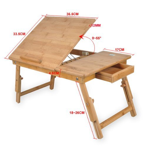 Generic Bamboo Folding Laptop Notebook Tilting Table Bed Food Tray Drawer  Desk (50x30cm): Amazon.co.uk: Kitchen U0026 Home