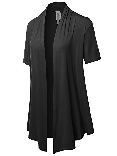 (Solid Jersey Knit Draped Open Front Short Sleeves Cardigan Black 2XL)