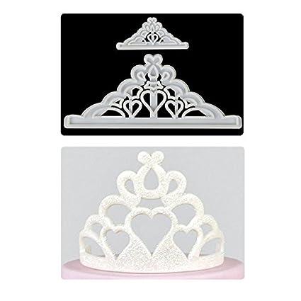 Molde para tartas de corona de fondant Tiara cortador de galletas para decoración de tartas de