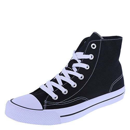 Airwalk Men's Black White Canvas Men's Legacee Sneaker High-Top 7 Regular Canvas Mens Sneakers
