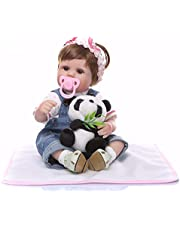"Decdeal Reborn Baby Doll Girl 17"" Real Life Babies Art Doll Soft Cloth Body Great for Ages 3+ Pink dotted clothes"