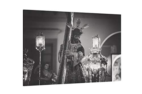 """Grayscale Photo of Jesus Christ Carrying Cross Figurine - Canvas Wall Art Gallery Wrapped 40""""x26"""" - .75"""" Depth"""