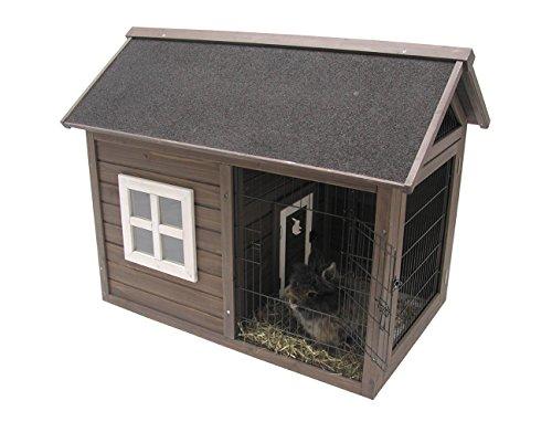 Nobby-Kleintierhaus mit Dachboden für Heu, 109.5 x 69.5 x 84 cm, Braun