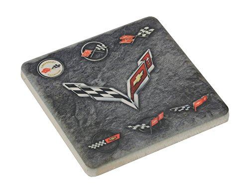 Corvette 7 Generations Stone Tile Coaster Dark