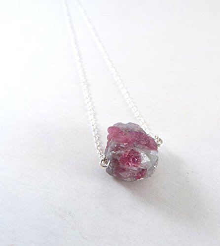 Watermelon Stone Necklace (Captive Stone Watermelon Tourmaline Necklace (Sterling Silver))