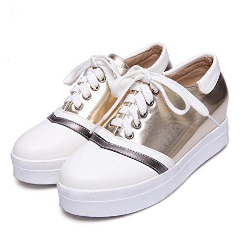 Easemax, Donna, Alla Moda, Impunture, Stringate, Plateau, Punta Rotonda, Altezza Bassa Nascosta, Sneakers Con Tacco Medio Color Oro