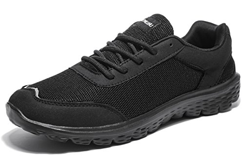Newluhu Mens Running Shoes Lightweight Breathable Outdoor Athletic Lace-Up Casual Fashion Sneakers Mesh Soft Sole (8.5US/42EU, black)