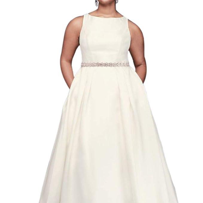 David\'s Bridal High-Neck Mikado Plus Size Ball Gown Wedding ...