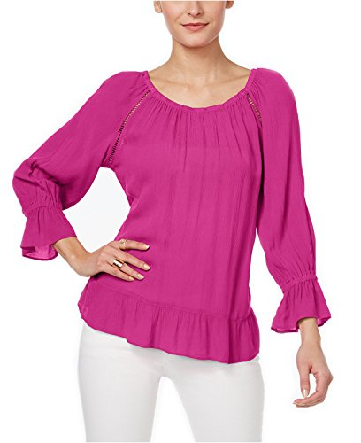 INC International Concepts Women's Crepe Peasant Top (Small, Magenta - International Magenta