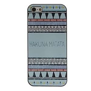 Conseguir Tonos azules hakuna matata caso patrón de dibujo coloreado negro marco dura de la PC para el iphone 5/5s