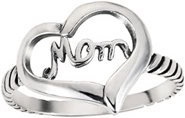 Love of Mom Heart Ring Sterling Silver 925 (Sizes 4-13)
