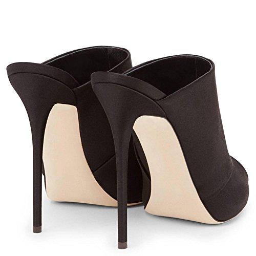 Soirée TLJ Fête Club 39 De Femme Black Plateforme Pantoufles Taille KJJDE Talon Grande 070 Mariage Haut Transgenre Sexy wOUZnqHX