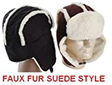 Black Faux Fur Suede Style Winter Trooper Aviator Hat Winter Cap