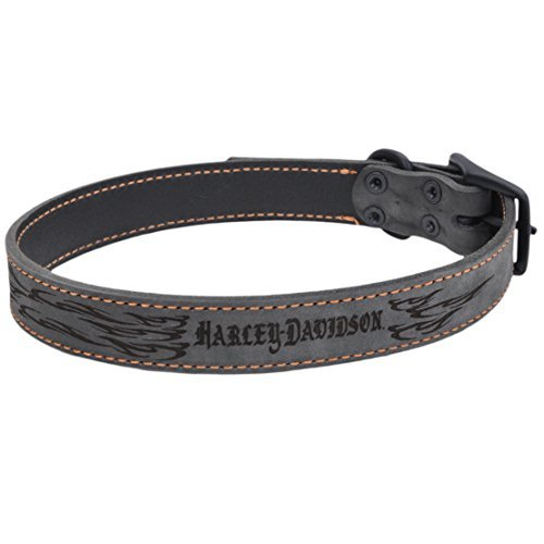 Cheap Harley Davidson Lasered Flame Rustic Leather Dog Collar | 1″ Width by 15″ to 18″ Girth