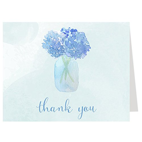 - Thank You Cards, Hydrangeas, Mason Jar, Bridal Shower, Blue, Boy, Floral, Hydrangea, Country, Wedding, Watercolor, Water Color, Baby Shower, Business, 50 Pack Thank You Cards with White Envelopes