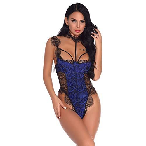 Women Sexy Lingerie Lace Deep V Bodysuit Lingerie Sheer Teddy Lingerie Blue -