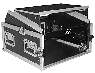 ProX Cases T-4MRLT 4 Space 10U Top Load Slant DJ Mixer Road Gig Ready Flight Combo Rack w/Gliding Laptop Shelf from ProX