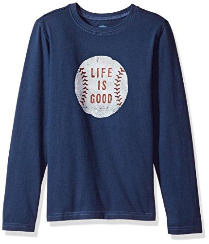 Life is good Long Sleeve Boys Tee Vintage Baseball, Darkest Blue, Medium (Is T-shirt Life Good Baseball)
