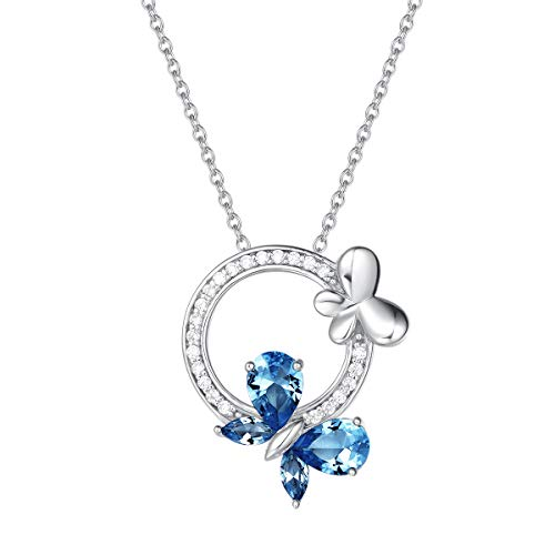 (Fancime 925 Sterling Silver Butterfly Round Circle Necklace Synthetic Blue Spinel Danity Cubic Zirconia CZ Pendant Jewelry for Women Girls 18