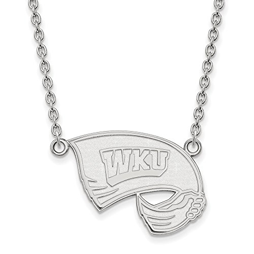 925 Sterling Silver Officially Licensed Western Kentucky University College Large Pendant with Necklace (18 in x 1.95 mm) by Unknown