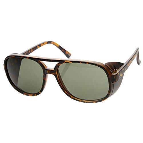 Women's Oversized Square Aviator Shield Sunglasses - With Sunglasses Side Aviator Shields