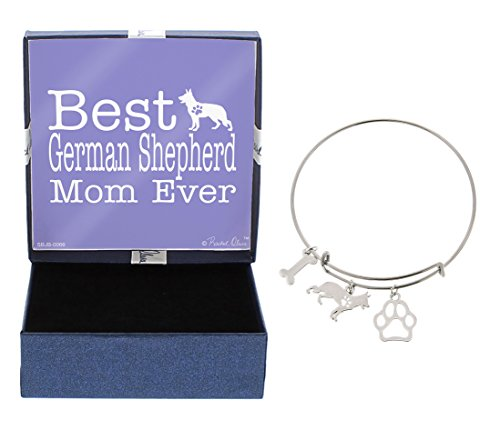 Mother's Day Gifts Best German Shepherd Mom Ever Bracelet Gift Love Dog Breed Silhouette Adjustable Bangle Charm Silver-Tone Bracelet Gift for German Shepherd Owner Jewelry Box (Charm Bracelet Silhouette)
