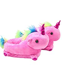 Funkeet Unicorn Slippers Winter Plush Stuffed Animals Slippers House Indoor Shoes Toddlers Kids