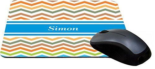 Rikki Knight Simon Blue Chevron Name Design Lightning Series Gaming Mouse Pad (5730 Series)