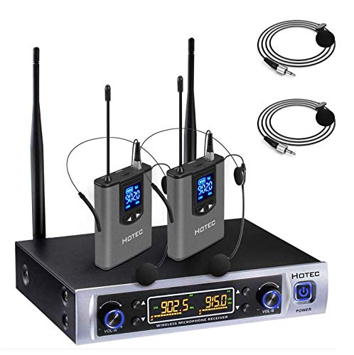 Wireless Bodypack Receiver - Hotec UHF 64 Channel Wireless Microphone System with LCD Display and Dual Headset Microphone Over PA, Mixer, Speaker, Karaoke Machine For Church, Training, Classroom, Interview, Business Presentations