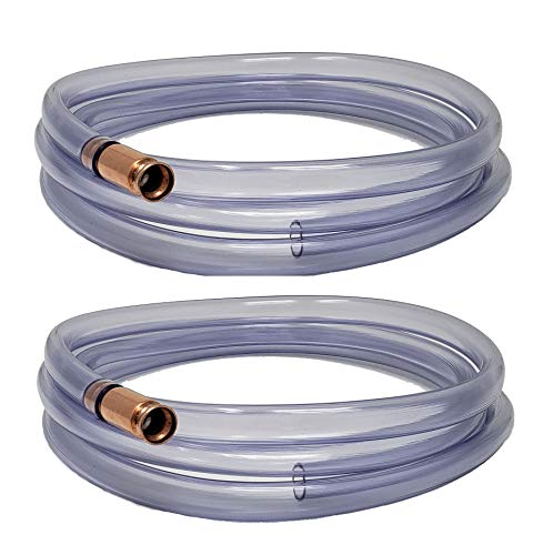 Self Priming Siphon Hose | Multipurpose Syphon Pump for Water, Liquids, Oil & Gas |- Aquarium Draining, Fuel Transfer | Crystal Clear Food Grade Tubing Made in USA - 1/2-Inch ID, Extended 10 FT Length